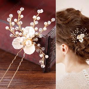 Einfache Brauthaarnadeln Pearl White Blumen-Haar-Sticks Kopfstück Frauen Tiaras Hairpin Haarschmuck Hochzeit Zubehör