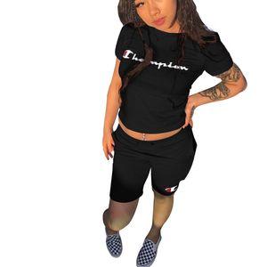 Champions Letter Print Женский спортивный костюм с коротким рукавом футболки, топ + шорты 2шт. Набор одежды, наряд, летние шорты, спортивный костюм B3043