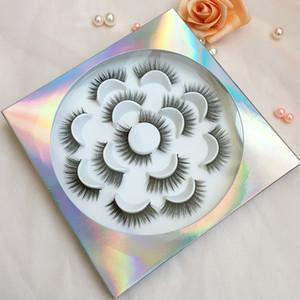 꽃은 가짜 밍크 속눈썹 꽃 속눈썹 책 사용자 정의 패키지 7 쌍을 속눈썹 트레이 5D 속눈썹 꽃 상자는 책을 속눈썹