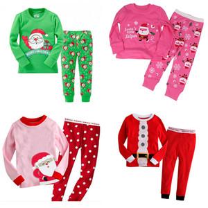 I bambini di Natale del vestito 25 colori Toddler Cartoon Babbo Natale a strisce casuale Outfits per bambini per il tempo libero vestiti delle ragazze di cotone stampato copre gli insiemi 06