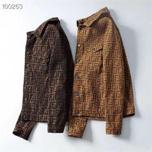 2019 moda novo italiano de luxo dos homens jaqueta casaco floral carta padrão cowboy dos homens manga comprida gola M-3XL