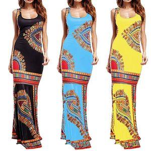 Casual Dress Women Boho Floral Sleeveless Dashiki Maxi Long Cocktail Dress New Fashion African Women Clothing