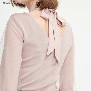 WHITNEY WANG 2019 Autumn Fashion Streetwear Mesh Lantern Sleeve Back Bow Sweater Women Jumper sueter mujer invierno