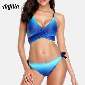Anfilia Donne Bikini Swimwear di pendenza trasversale del costume da Legato Bandage costume da bagno Beachwear Croce Front Side nodo Bikini