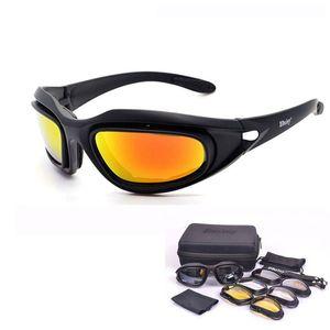 SAIYU C5 armée lunettes Desert Storm 4 Outdoor Objectif Sport Chasse Lunettes de soleil anti UVA UVB X7 polarisants Guerre Jeu Moto Glasse