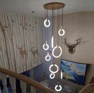 أضواء led الثريا المعاصرة الشمال أدى droplighs الاكريليك حلقات درج الإضاءة 3/5/6/7/10 حلقات الإضاءة الداخلية تركيبات llfa