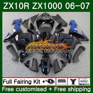 Para el cuerpo ZX 10 R ZX1000 ZX10R 06 07 Negro Azul 117CL.33 ZX1000 CC ZX10R 06 07 ZX 10R 2006 1000CC 2007 carenados