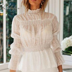 Ordifree 2020 Summer Women White Chiffon Blouse Shirt Long Sleeve Sexy Transparent Beach Blouse Tops