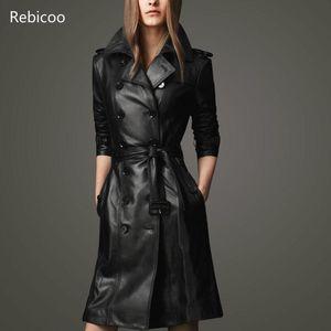 Women Sheepskin PU Leather Jacket Belt Gothic Black Trench Fast Wash Autumn Winter Double-breasted Plus Size Cotton Coat