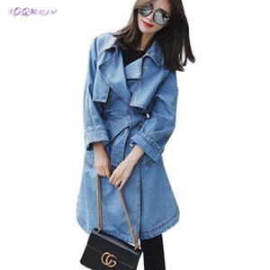 printemps mode trench femme femmes manteau élégant windbreake des femmes Bow femmes denim ceinture nouée manteau mince manteaux longs IOQRCJV T198