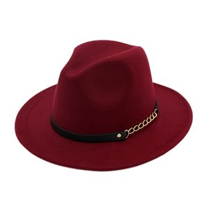 Il nuovo modo gli uomini fedoras cappello di jazz moda primavera inverno nero protezione di lana miscela delle donne all'aperto cintura cappello casuale con fibbia in metallo