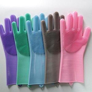 1 pares de silicone escova de limpeza luvas de lavagem luvas mágicas reutilizável Silicone escova de limpeza resistente ao calor Verde Rosa @ 25