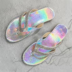 Fashion Sexy Roman Rhinestone Summer Women Slippers 2020 New Flat Bottom Outdoor Women's Beach Slippers Female Flip Flops