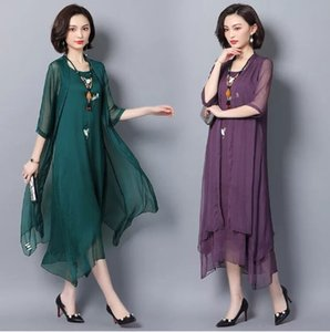 robe de soriee 2019 New Green Women's Gradient Mother Of The Bride Dresses With Jacket Asymmetric Chiffon Wedding Party Vestiods Formal Gown
