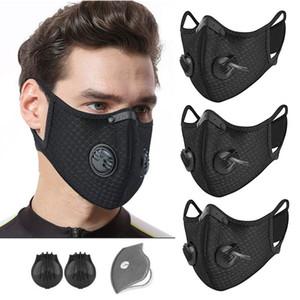 Regolabile Maschera Ciclismo Face Training Sport con la respirazione Valve PM2.5 anti-inquinamento Esecuzione Maschera Filtro al carbone attivo Maschera lavabile