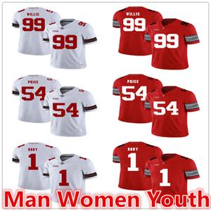 настроить NCAA штат Огайо Buckeyes футбольные майки Билл Уиллис 99 Билли Прайс 54 Брэдли Роби 1 Джерси любое имя номер S-5XL