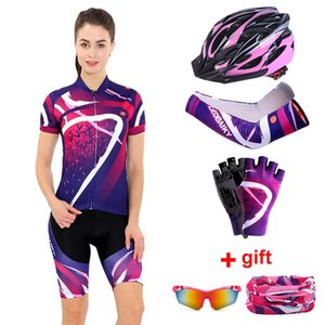 Women Cycling Clothing Set 2020 Summer Pro Team MTB Bike Clothes Ladies Cycling Jersey Sets Anti-UV Bicycle Helmet Cuffs Gloves