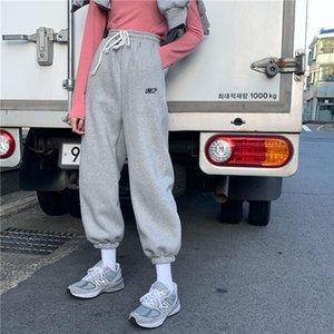 EACHIN mujeres del lazo del deporte Pantalones de chándal de invierno calientan los pantalones de Streetwear cargo ocasional floja Sportwear Pantalones Mujer Moda