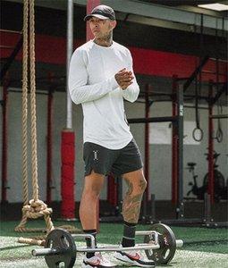Sonbahar Erkek Aktif Katı tişörtleri Moda Tasarımcısı Uzun Kollu Spor Tees Casual Mürettebat Boyun Mens Tees