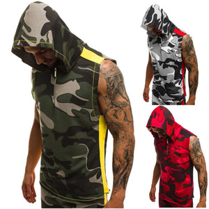 Estate Uomo senza maniche con cappuccio 3D Stampa Fitness Sports Vest Mens Zipper Designer Tops uomini vestiti casual