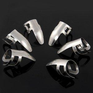 6PCS dedo del metal del acero inoxidable del banjo del Ukulele guitarra escoge las púas