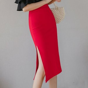skirts womens faldas mujer moda 2020 slim sexy Split pencil skirt high waist red black skirt women office lady woman skirts D164