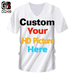 Ogkb Men 's Diy 사용자 정의 T- 셔츠 자신의 디자인 3d 인쇄 된 사용자 지정 V 목 Tshirt 남성 짧은 소매 Casaul 티 셔츠 도매 Y19060601