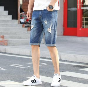 Light Blue Slim Mens Jeans Designer Straight Holes Male Denim Trousers Summer Vogue Mens Short Jeans Casual