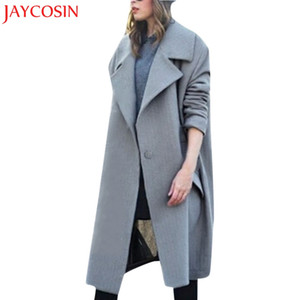 KLV Mulheres Inverno Lapela De Lã Casaco Botão Trench Jacket Feminino Solto Plus Overcoat Notched Longo Outwear Dropship Dec.1