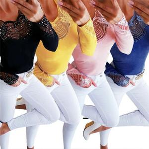 Kadınlar Seksi İnce Kelebek Boncuklu V Yaka Bluz Hollow Çıkan Tişört Bayanlar Uzun Kollu İnce Casaul Tops