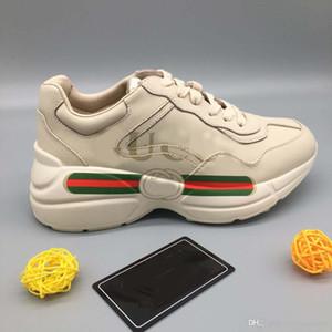 Marca de moda Morango Sapatos de Grife de Alta Qualidade Das Mulheres Dos Homens Tênis De Grife Rhyton Sapatos Casuais Do Vintage Tamanho: 35-45 Com caixa GU10