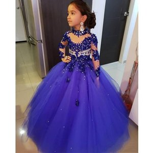 Birthday Party Dresses Crianças Prom New Royal azuis Little Girls Pageant Vestidos mangas compridas cristal frisado alta Neck Vestidos para as meninas