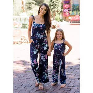 Mommy And Me Clothes Europe And America Summer New Mom Daughter Deep V Straps Jumpsuit Parent-Child Wear Family Matching Clothes CX200605
