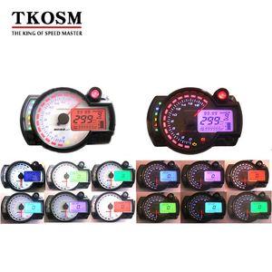TKOSM 현대 KOSO 18000rpm 까만 백색 유사한 LCD 디지털 방식으로 기관 자전차 주행 거리계 속도계 조정 가능한 7 개의 색깔 299KM / H 모터 바이크