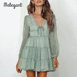 Melegant Uzun Kollu 2019 Sonbahar Kış Elbise Kadınlar Kısa Parti Ruffles Femme Zarif Yeşil Bayanlar Şifon Elbise vestidos