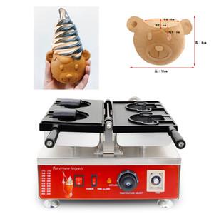 Ice Cream Bear cône Taiyaki Maker Machine 110v 220v Animal Cartoon Ours Gaufre Crème Glacée Baker cône Pan De Fer