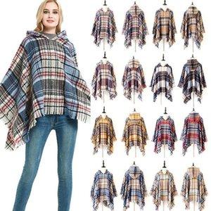 Cálido envolturas invierno a cuadros con capucha de punto con flecos del mantón del cabo usable bufanda de la manera ocasional del mantón envolturas Capa exterior suéter Mantas WY36Q
