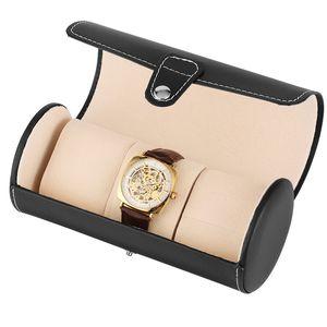 Luxe noir / brun Voyage cylindrique Boîte Boîtes en cuir montre-bracelet de bijoux Porte-cas avec une éponge Montres Accessoires