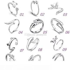925 encantos de plata Anillos Multi Dolphins Alas de la libélula del Ángel Amor Fox mariposa de la apertura ajustable anillo para las mujeres