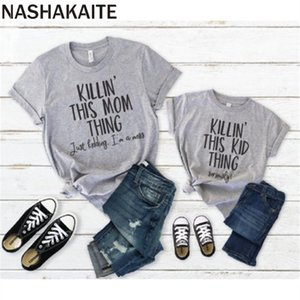 NASHAKAITE Mommy and me clothes Casual Short Sleeve O-neck Letter Print Matching Tees Summer Family Look T-shirt Mom daughter