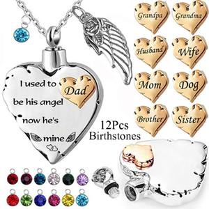 Anne, baba için 12pcs Birthstones Aile Memorial Kalp kolye, Pet ben Ashe için O'nun melek Şimdi O'S Mine Urn kolye Used To Be