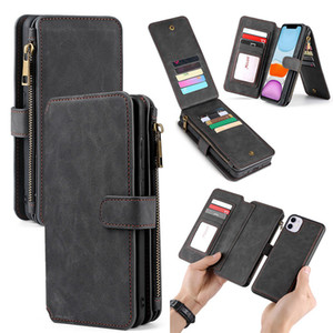 Para Iphone 11 Zipper Wallet Caso 2 em 1 de couro destacável magnética capa para Iphone 11 Pro XS Max XR 8 Plus Samsung S20 Além disso S20 A30 A51 A71