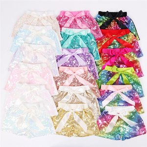Summer baby Girls Sequins Shorts Kids Glitter Bling Pants Dance Shorts Fashion Pants Boutique Bow Princess Party Knot Shorts LE363