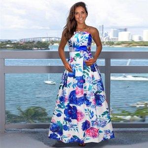 Donna senza maniche casual vestito dal progettista delle donne vestiti floreali con i telai modo di colore di contrasto della cinghia di spaghetti Abbigliamento