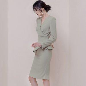 Новое платье светло-зеленый Bodycon тонкий колен OL миди элегантный офис женская рабочая одежда просто роскошные новые модные женские платья 290