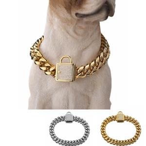 Совершенно новый 14 мм дрессировки собак ошейник цепи дросселя для больших собак Pitbull бульдог сильный серебро золото из нержавеющей стали скольжения ошейник для собак
