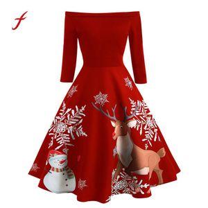 Vestito da festa di Natale Sexy Vintage Donna Off spalla Evening Party Dress Slash neck Ladies Christmas Print Vestidos Female / PT