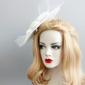Fashion White color royal jockey club net gauze pearl hat banquet annual wedding dress accessories photo cap accessories barrette 2019 Gifts