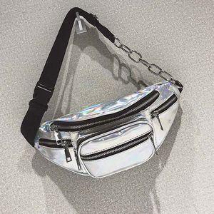 Marsupio 3pcs nuovo sport di stile del laser traslucido impermeabile Ologramma PU argento metallizzato Fanny Pack di donne della vita Borse