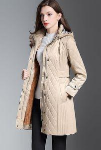 جديد 2019! النساء أزياء إنجلترا منتصف طويلة رقيقة معطف مبطن القطن / العلامة التجارية مصمم جودة عالية ضئيلة تناسب معطف الشتاء للنساء حجم S-XXL